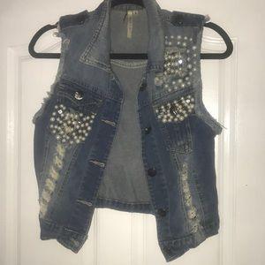 Embellished jean vest
